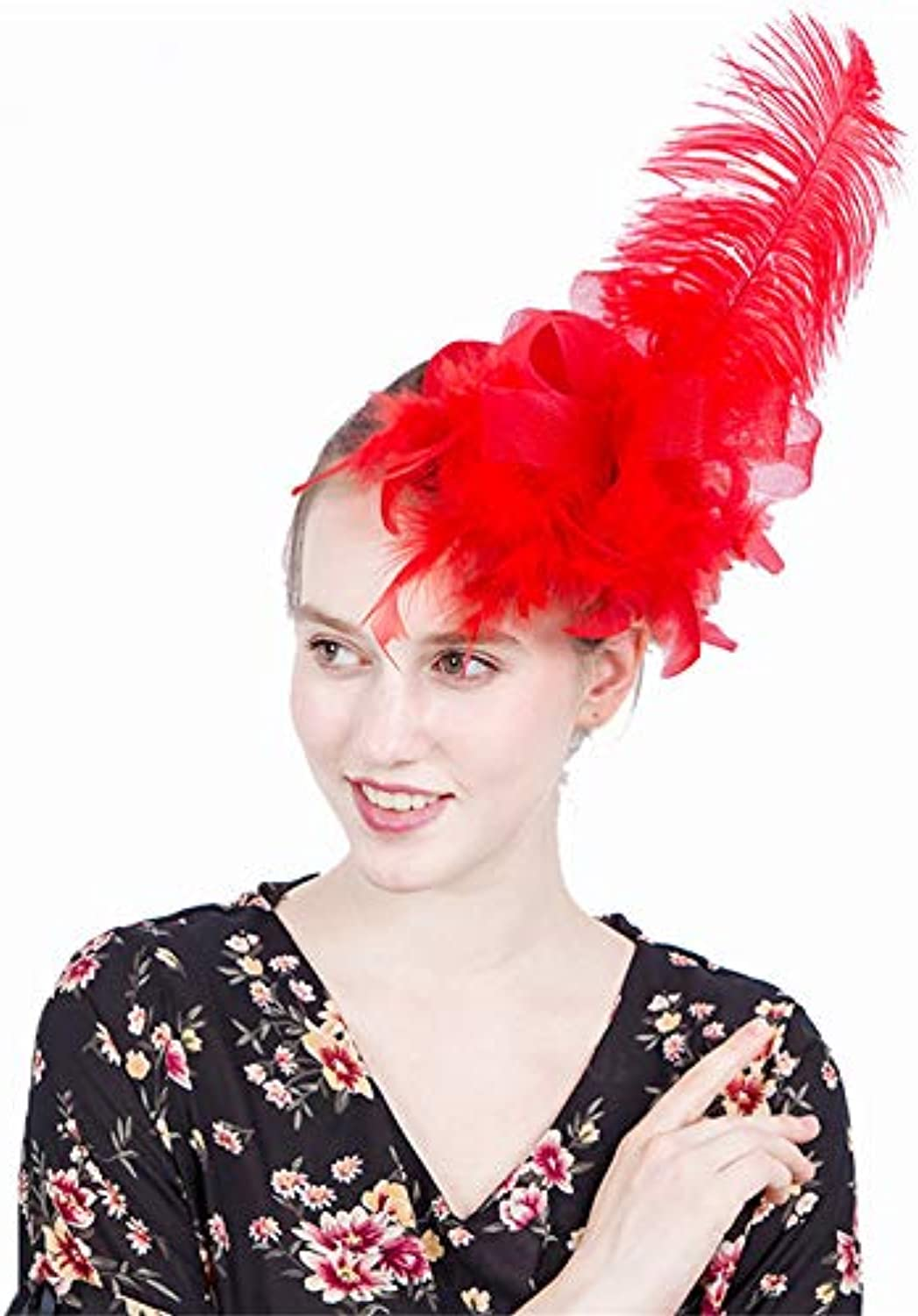 Lady's Head Flower Long Feathers Fascinator Hats Net Mesh Hairclip for Wedding