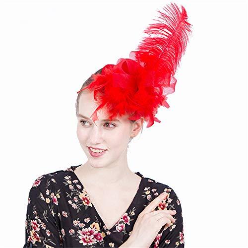 Jklj Pince à Cheveux Coiffe De Plumes Femme élégante Longue Plume Captivated Hat Net Mesh Hair Clip Rétro (Color : Yellow)