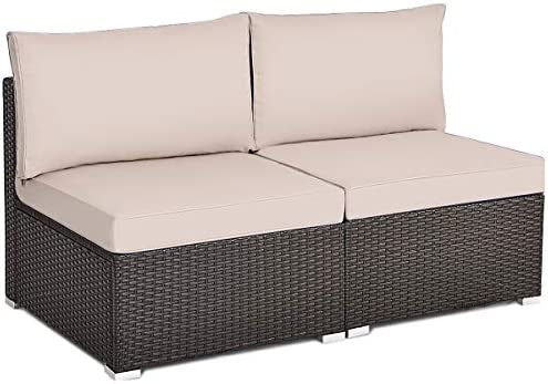 Best Tangkula 2 PCS Outdoor Wicker Armless Sofa, Patio Rattan Sectional Sofa Set w/2 Thick Cushions and 2