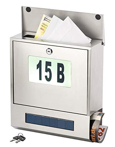 Lunartec Postkasten: Edelstahl-Briefkasten, Solar-Leucht-Hausnummer, Zeitungsfach, 3 LEDs (briefkastenbeleuchtung)