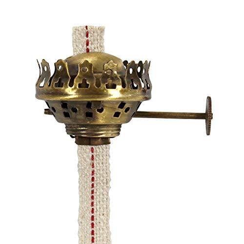 Heinze Brenner Alt-Messing mit Docht 11 mm breit, für Petroleumlampe Square