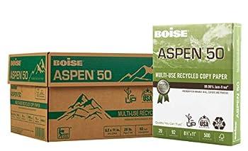 BOISE ASPEN 50% Recycled Multi-Use Copy Paper 8.5  x 11  Letter 92 Bright White 20 lb 10 Ream Carton  5000 Sheets