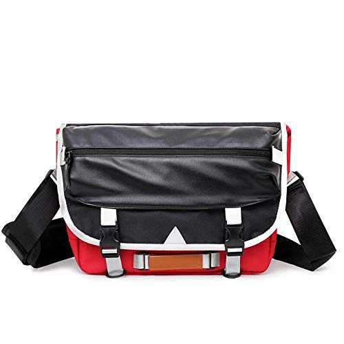 SPAHER Mens Women Leather Shoulder Bag Cycling Messenger Bag Handbag for Lovers Crossbody Bag College Fashionable Students School Sling Backpack for A4 Documents Books 13.3' Laptop Macbook Air Red