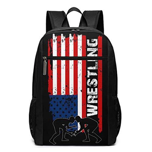ZYWL Amercian Wrestling Laptop Rucksack 17-Zoll-Reiserucksack Bookbag Bussiness Bag