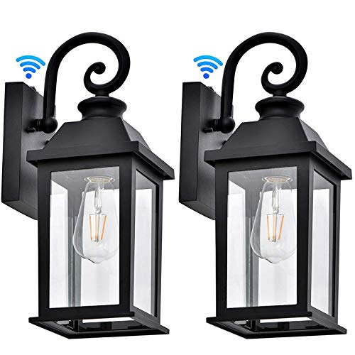 Manble Dusk to Dawn Sensor Outdoor Wall Lantern Exterior Wall Sconce Lights Fixture Waterproof Anti-Rust Matte Black Porch Wall Mount Light with Glass Shade for Porch 2 Pack (Bulb Not Included)