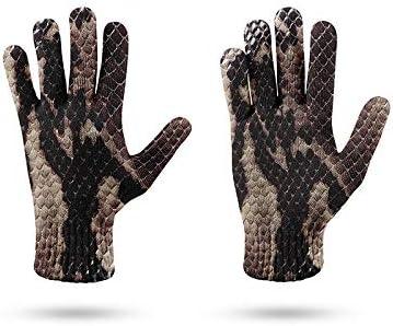 Dames Winter HandschoenenTouchscreenHandschoenen 3DGeprinte Bruine Gebreide Handschoenen Met Serpentinepatroon Dames Zacht Winddicht Elegante Thermische SmsWanten Outdoorhandschoenen Met Lange V