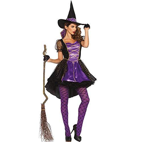 Disfraz De Bruja para Mujer Vestido Morado Malvado Gótico con Capa Y Sombrero Halloween