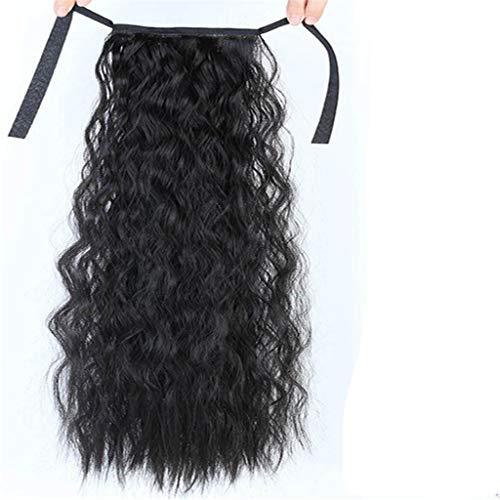 Piece Cheveux épais bouclés humaine Pièces 22 pouces de long ondulé naturel autour Wrap Ponytail Mode synthétique Drawstring Postiches Extension,Noir