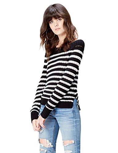 find. Jersey de Hilo de Rayas Marineras para Mujer , Negro (Black/white), 42 (Talla del Fabricante: Large)