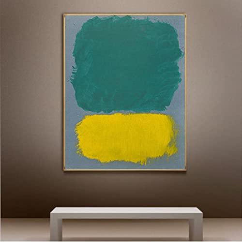 Famoso Mark Rothko Focus Lienzo Pintura Carteles Impresiones Bloque de Color Cuadros Modernos Cuadro de Arte de Pared Decoración para Sala de Estar -60x80cmx1pcs- Sin Marco