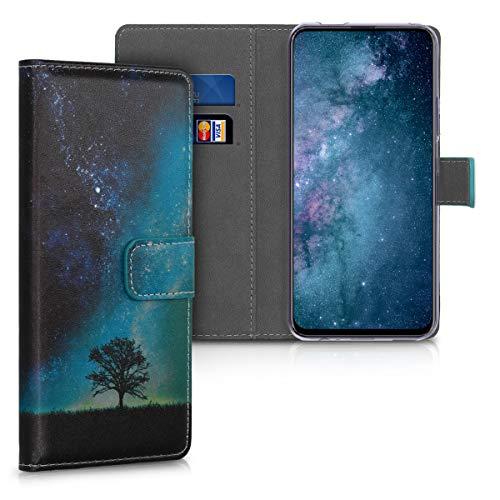 kwmobile Hülle kompatibel mit Huawei Honor 9X Pro - Kunstleder Wallet Hülle mit Kartenfächern Stand Galaxie Baum Wiese Blau Grau Schwarz