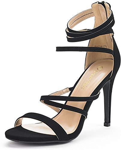 DREAM PAIRS Women's Show Black Nubuck High Heel Dress Pump Sandals - 5 M US