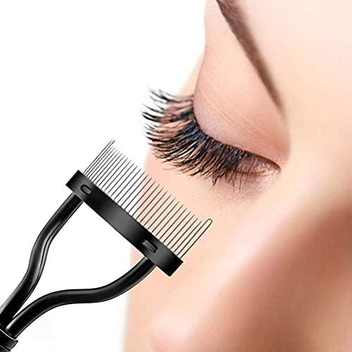 Eyelash Comb, Stainless Steel Eyebrow Brush Separator Curler Makeup Mascara Applicator Comb Cover with False Eyelashes Applicator Tool