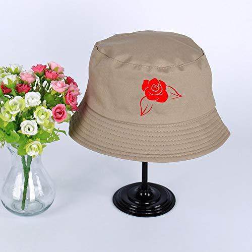 JIACHIHH Sombrero De Pescador Algodón,Impresión De Imágenes De Rosas Rojas Cuchara Sombrero Gris De Verano Unisex Visera Exterior Hat Pescador Pesca Hat