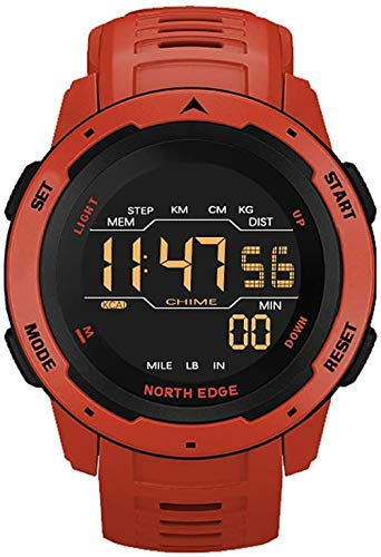 Reloj digital para hombre, reloj deportivo, doble hora, podómetro, alarma, impermeable, 50 m, color rojo