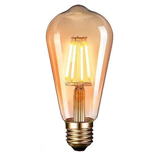LED Edison Vintage Glühbirne, Massway Retro LED Edison Glühlampe E27 (4W / 220V) 2600-2700K Amber Warmweiß Retro-Licht, antike Lampe im Vintage-Stil im Haus Café Bar usw- 1 Stück