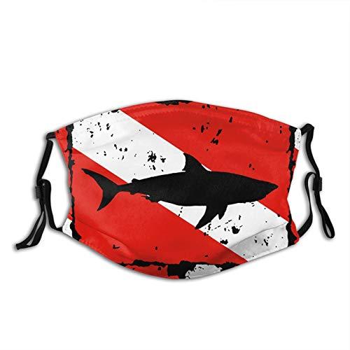Vintage Shark Scuba Dive Flag Black Face Mask Reusable with 2 filter for Men Women Outdoor Sports Scarf Shield washable