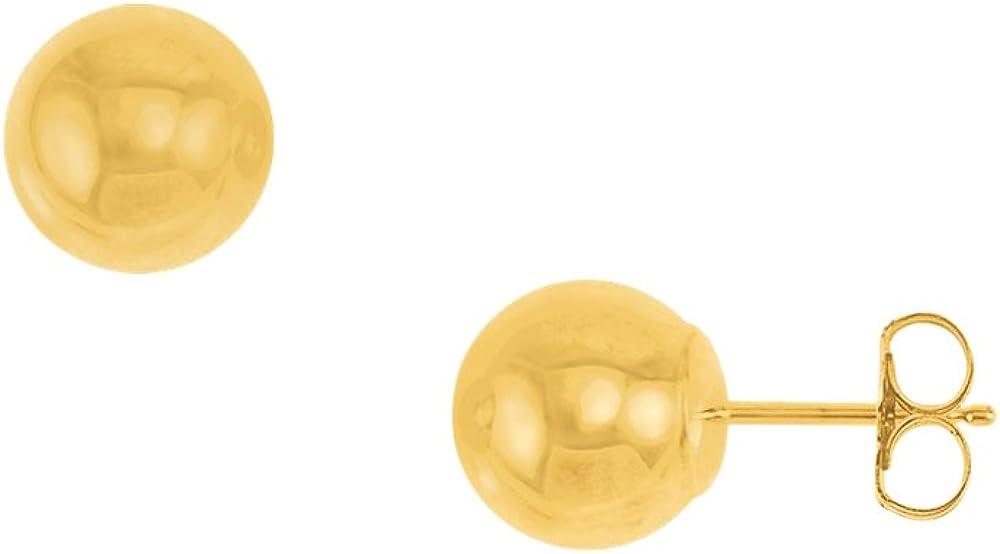 14k Yellow Gold 7 MM Ball Stud Earrings Easy Push Back