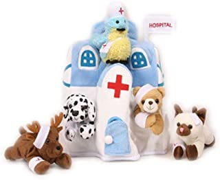 Plush Animal Hospital House with Animals - Five (5) Stuffed Injured Animals (Bear, Dalmatian, Cat, Bird, Moose) in Play Hospital Carrying Case