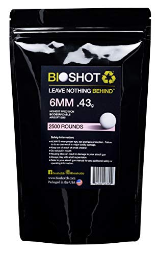 BioShot Biodegradable Airsoft BBS - .43g Super Slick Seamless Sniper Weight Competition Match Grade for All 6mm Airsoft Guns and Accessories (2500 Rounds, White)