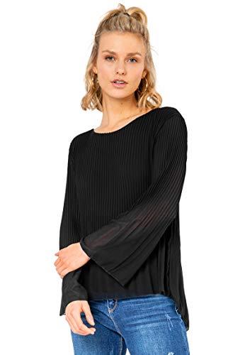 Sublevel Damen Langarm Tunika Bluse mit Plissee Falten Black M
