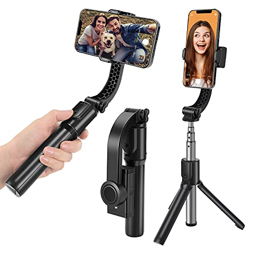 Wensot Gimbal Stabilizer for Smartphone with Extendable Selfie Stick Tripod ,Bluetooth Wireless Remote and Phone Video Stabilizer Handheld, The Smartphone Gimbal Suit for iPhone,Samsung,Android Phone