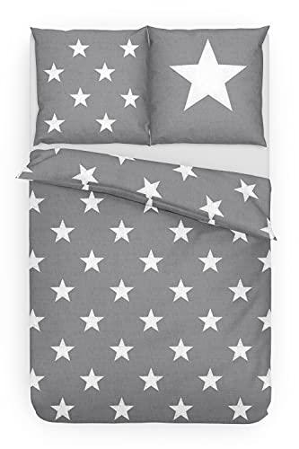 Dobnig Bettwäsche 155x 220 Baumwolle Sterne   Bettwäsche Sterne grau Baumwolle   Winter Bettwäsche Set   Sternen Bettwäsche Biber   100% Baumwolle