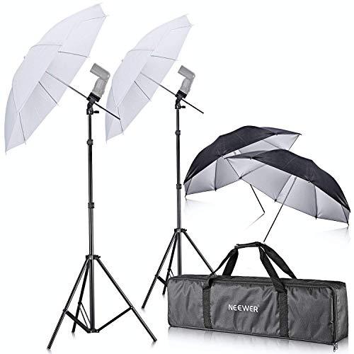 Neewer - Doppio Kit di supporto con montaggio su slitta per Speedlight flash, girevole, con ombrello morbido, per Canon 580EX II, 580EX II, 600EX-RT, Nikon SB600, SB800,SB900, Youngnuo YN 560, YN 565, Neewer TT560, TT680, TT850, TT860