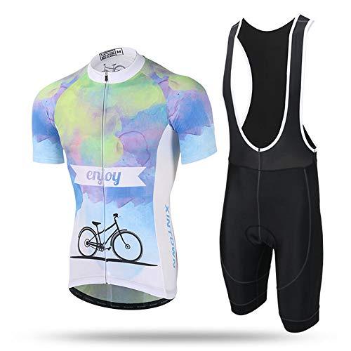 Optimum Stretch Slim Fit Riding Sportswear Pantalon à bretelles à manches courtes et sangle Combinaison de cyclisme Suit Combinaison anti-humidité Vêtement d`équipe de cycliste Pantalon avec ensemble