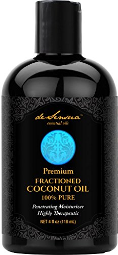 Coconut Oil, Fractionated - 100% Pure- Best For Massage, Moisturizing Skin and Hair, Carrier Oil For Essential Oils, 4 oz