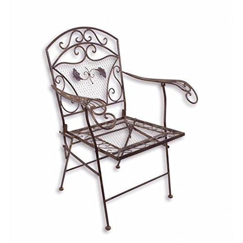 L'Héritier Du Temps Fauteuil de Jardin Chaise Siège de Salon de Jardin à 2 Accoudoirs Banquette Extérieure Pliable 1 Place en Fer Marron 51x72x95cm