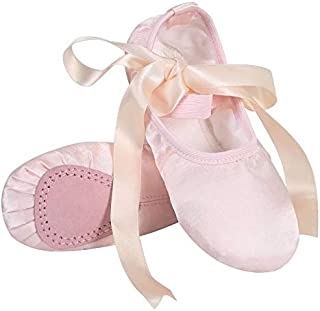 Linodes Stain Ballet Dance Shoes Split Sole with Ribbon for Girls and Boys (Toddler/Little Kid/Big Kid) 11M Little Kid Lig...