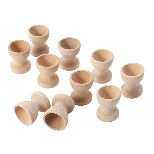 YeahiBaby Wooden Egg Cups Holder Stand Kitchen Eggs Holding Cups Tabletop Refrigerator Egg Tray Container 10pcs