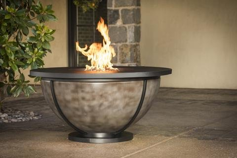 Meridian Outdoor Living Bodaway Bowl 48' Round Natural Gas Fire Pit Tables, Powder Coated Steel & Onyx Finish