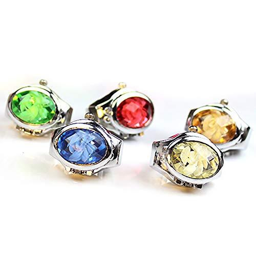 [ ZooooM ] 5個 セット ダイヤモンド デザイン 蓋 カバー 付き 指 輪 時計 リング ウォッチ サイズ フリー ZM-WATCH3351 カラー ランダム