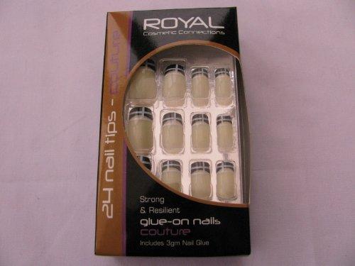 Unidades 24Royal Couture uñas, pegamento de uñas, 12tamaños, 3mm uñas pegamento incluido, crema de uñas con punta de blanco y negro Patrón a, marca nuevo en caja.