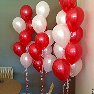 Party Propz Metallic Balloons Red and White Color for Party Decoration Set of 100 Pcs
