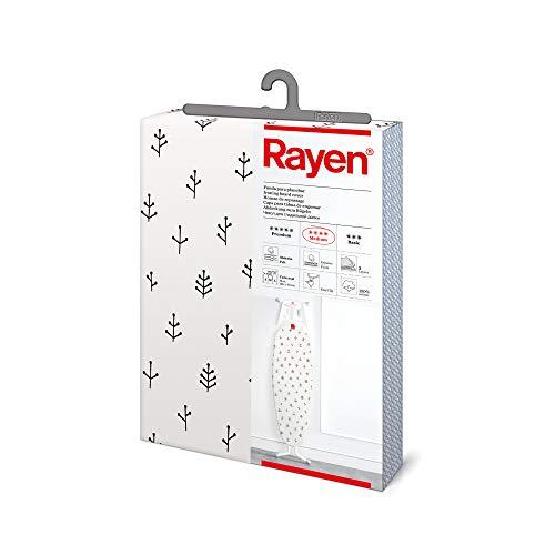 Rayen   Housse pour Table à Repasser Universelle   3 épaisseurs: Mousse, Molleton, Tissu qualité Canevas   Gamme Medium de 130x47 cm, Blanc cassé avec Branches