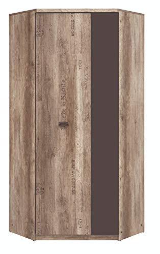 Boardd Malcolm - Armario esquinero grande para pasillo, dormitorio, cajones, armarios, muebles de madera aglomerada, roble monumento/gris, 95,5 x 205,5 x 95,5 cm
