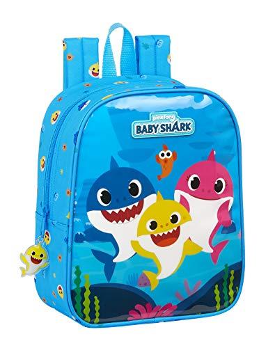 Mochila Safta Infantil de Baby Shark, 220x100x270mm, azul claro