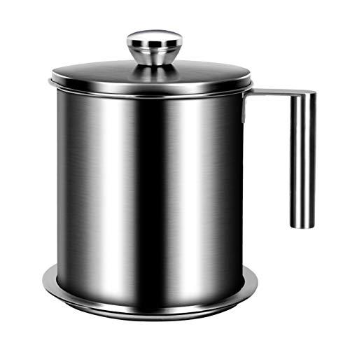 DFFH Filtro Aceite Cocina Acero Inoxidable,Tarro Colador de Grasa,Graseras de Cocina con Malla Fina Colador y Tapa,1.9L
