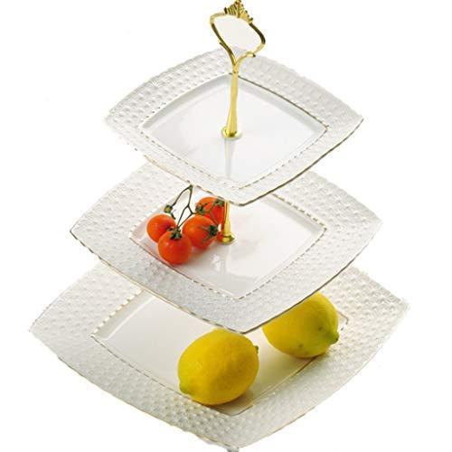 Z-W-DONG Buffet Affichage gâteau stand Birthday Party Décoration Plateaux Société Party Decoration Plateaux, 25.5 * 25.5 * 36cm Stands Cake (Color : Silver, Size : 25.5 * 25.5 * 36cm)