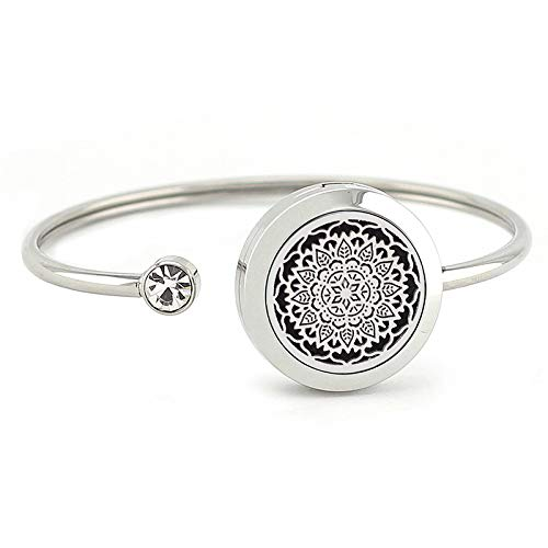JOYMIAO Diffusor-Armband für ätherische Öle, 25mm Medaillon Diffusor, Edelstahl Armband, verstellbares Armband, Geschenk für Frauen, Mädchen, Männer, Jungen, Kinder