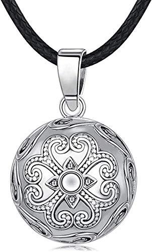 WYDSFWL Collar Cobre 20mm Único Armonía Bola Colgante Flores Glockenspiel Bola Bola Collar Llamador de ángeles Joyas Embarazadas Collar de Regalo para Mujeres