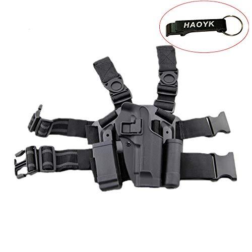 haoYK Einstellbare Tactical Airsoft Pistol Drop Bein Holster Tasche Oberschenkel Rechten Bein Holster mit Magazin Taschenlampe Beutel für M9 M92 (Schwarz)