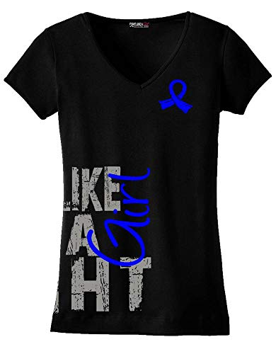 Fight Like a Girl Side Wrap Ladies V-Neck T-Shirt for Colon Cancer, Arthritis, CFS Awareness - Black w/Blue [XL]