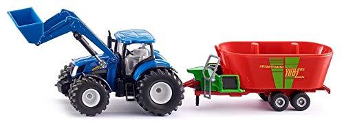 SIKU 1988, New Holland Traktor mit Frontlader und Strautmann Futtermischwagen, 1:50, Metall/Kunststoff, Blau, Umfangreiche Funktionen