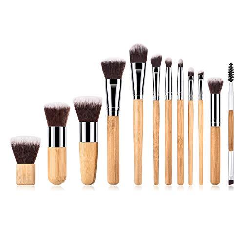 MEIYY Pinceau De Maquillage 12Pcs Pinceau De Maquillage Ensemble Poignée En Bambou Prime Fondation Mélange Blush Correcteur Yeux Poudre Liquide Cosmétiques Pinceaux