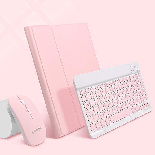Zzyx Funda para iPad de 7ª generación con teclado para iPad 10.2 Case Pro 11 Air 3 4 10.9 Pro 10.5 Air 2 9.7 con soporte para lápices (color: polvo elegante A, tamaño: para Pro 11 2020 2018)