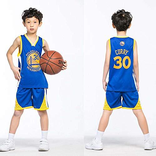 Bambini Ragazzi Ragazze Uomo Adulto NBA Curry #30 Golden State Warriors Retro Pantaloncino E Maglia Basketball Jersey Basket Maglie Uniforme Top & Shorts 1 Set, 100% Poliestere, Non Sbiadito,Blu,XL